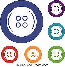 Plastic button icons set