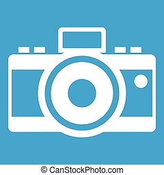 Photocamera icon white isolated on blue background vector...