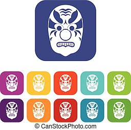 Tribal mask icons set vector illustration in flat style in...