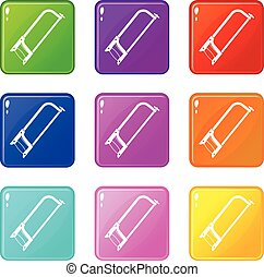 Hacksaw set 9 - Hacksaw icons of 9 color set isolated vector...