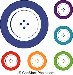 Round sewing button icons set in flat circle red, blue and...