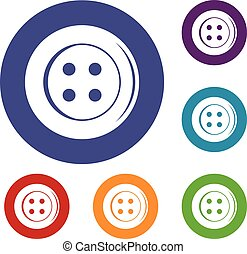 Sewing button icons set