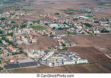 The view from an airplane in Larnaca, Cyprus. Many small...