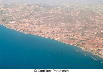 The view from an airplane on Cyprus