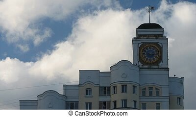 Clouds Over the Tower Clock - A short time lapse clouds...