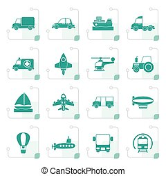 Stylized Different kind of transportation icons - vector...