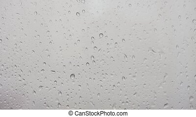 Rain drops on glass. Window. Front view