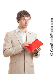 Man holding red letter isolated