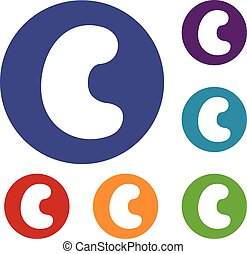 Cashew icons set in flat circle red, blue and green color...