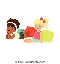 Two sweet little girls sitting and lying on the floor, colorful character