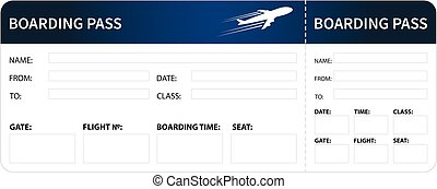 Blue boarding pass - Airplane boarding pass. Blue ticket...