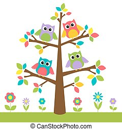 Cute owls on colorful tree and flowers
