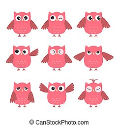 Set of cute pink owls with various emotions