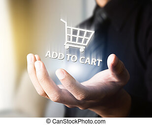 businessman doing online shopping with cart