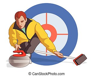 curling player male - curling player, male, pushing stone...