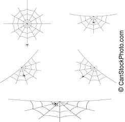 Vector set of spider webs or cobwebs for Halloween design. Element of decoration. Isolated on white background.