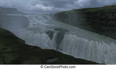 View of the two-tiered Gullfoss waterfall in Iceland....