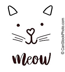 head cat silhouette black icon, lettering meow whiskers...