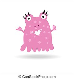 Cute Monster kids logo monster vector set.