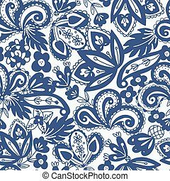 seamless pattern in paisley style - Blue and white ethnic...