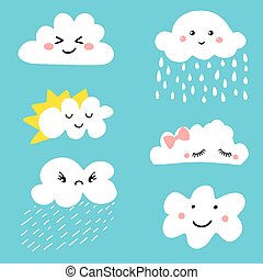 Cute and adorable cartoon weather clouds icon set. Can be...