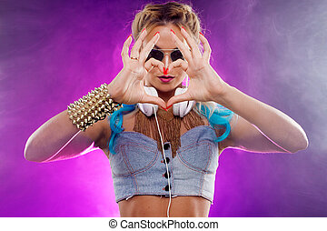 Disco girl shows hands sign heart. Retro style - Young...