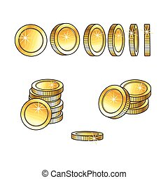 Set of rotating, turning gold coins and stakcs - Set of...