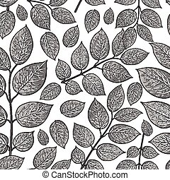 Seamless pattern of birch, honeysuckle grey leaves -...