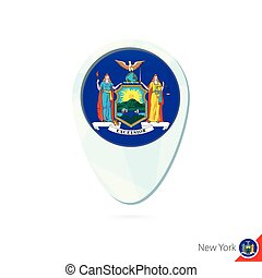 USA State New York flag location map pin icon on white background.