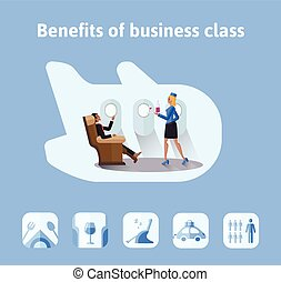 Benefits of flights in business class. Respectable businessman sitting in airplane seat, the stewardess bringing him a drink. Vector illustration in flat style.