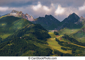 montagne, alto,  Austria, paesaggio, estate, Alpino
