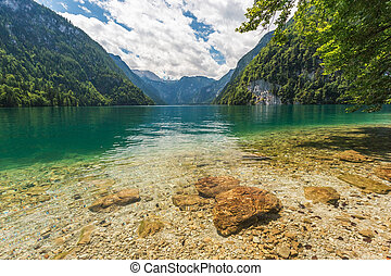 Summer landscape. Colorful Konigsee lake in Germany