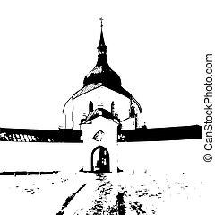 pilgrimage church on zelena hora, green hill - pilgrimage...