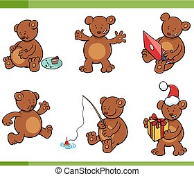 cartoon bear animal characters set - Cartoon Illustration...