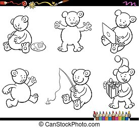 cartoon bear characters set coloring book - Black and White...