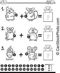 addition educational activity for coloring - Black and White...