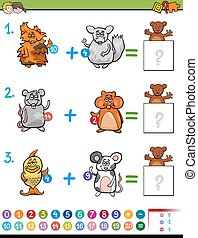 addition educational maths activity for kids - Cartoon...