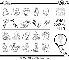 wrong picture in a row coloring game - Black and White...