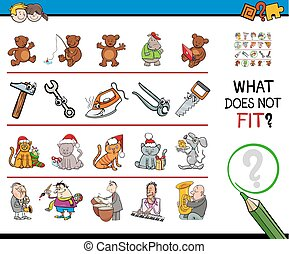 wrong picture in a row cartoon game - Cartoon Illustration...
