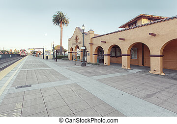 panoramic view of Burlingame caltrain station in Bay area ,...