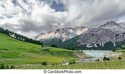 Time lapse of alps in Cancano lake, Valtellina - Wide angle...