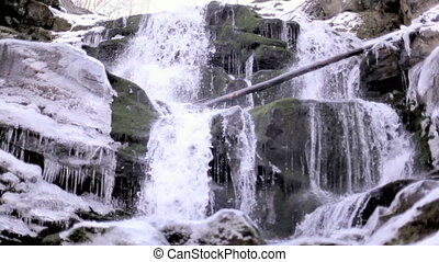 Winter waterfall. Carpathians Ukraine - Waterfall with cold...