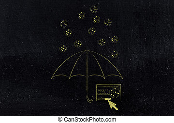 umbrella protecting pop-up window from falling cookies -...