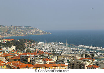 Port of Sanremo (San Remo) on Italian Riviera, Imperia,...