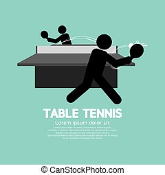 Table Tennis Players Symbol Vector Illustration