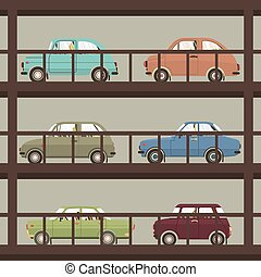 Cars In Parking Building Vector Illustration