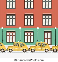Flat Design Yellow Taxi Vector Illustration