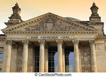Reichstag building (Deutscher Bundestag), Berlin, Germany -...
