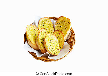 Garlic bread - garlic bread on white background