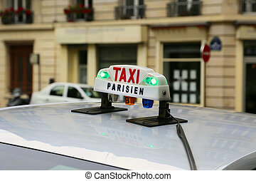 Sign of taxi in Paris